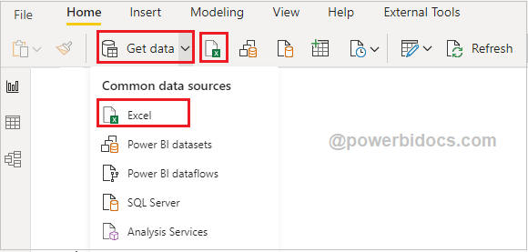 Get data from Excel into Power BI