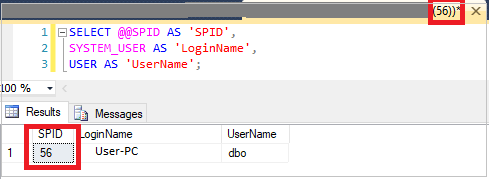 SQL server configuration function - @@SPID