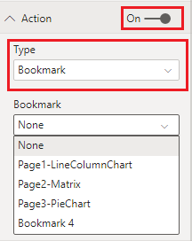 Power Bi Bookmarks Action