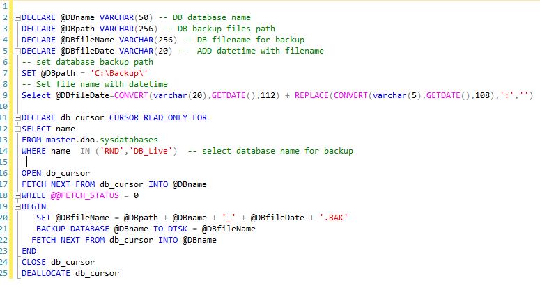 SQL Database Script