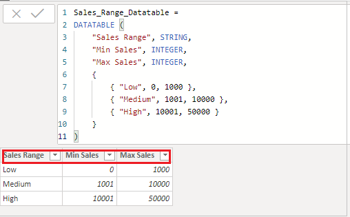 DataTable DAX function