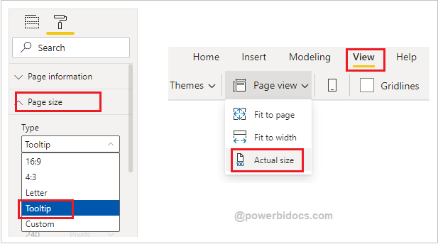 Set Page size and page view for tooltip