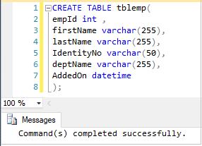 Create Table in SQL