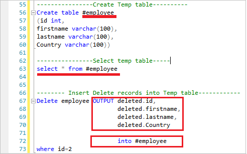Delete and Insert using OUTPUT keyword