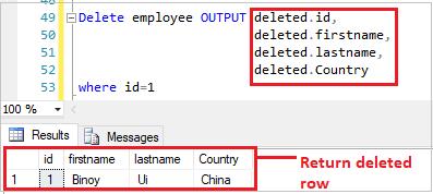 Delete row with OUTPUT keyword
