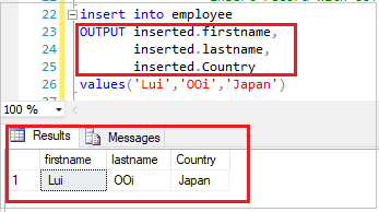 SQL INSERT with OUTPUT Keyword
