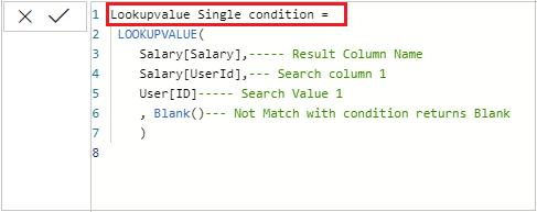 Lookupvalue Dax single value