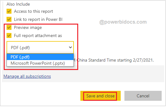 Email attachment in subscription Power BI