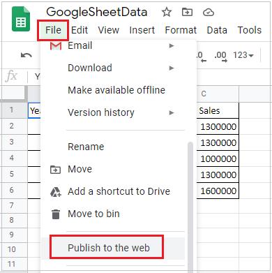 Google Sheet Publish to web