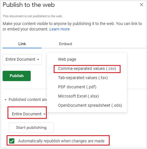 GoogleSheet PublishtoWeb