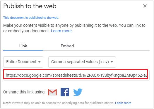 Publish to web URL
