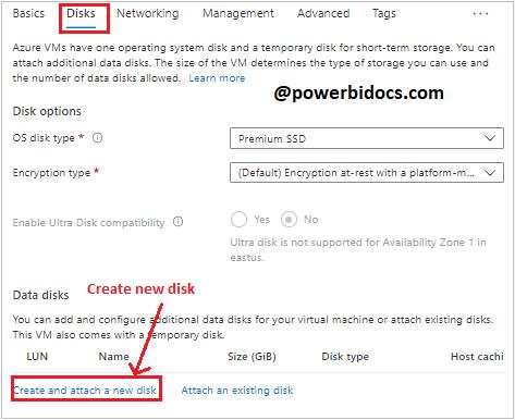 Azure create a new disk