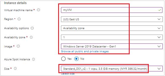 Create VM Instance details