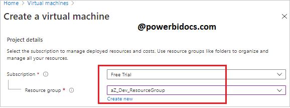 Create VM Project details