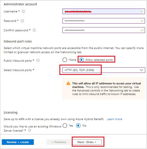 Create VM admin details