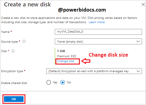 Create disk azure