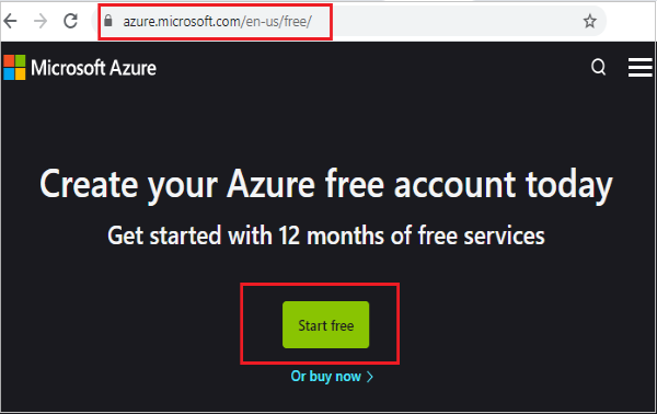 Create free azure account