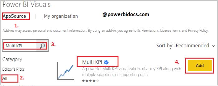 Import Multi KPI visual