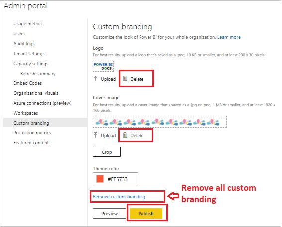 Remove Custom branding in Power Bi service