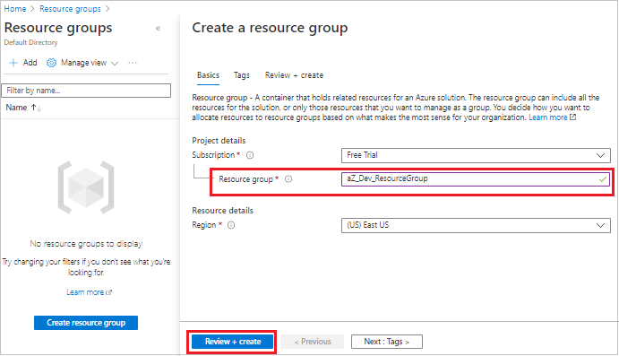 Resource Group name details