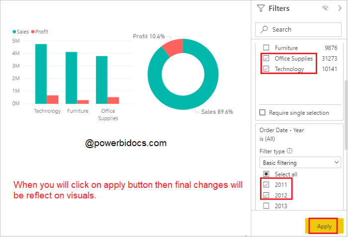 Apply all filter feature example in Power BI
