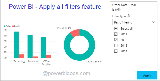 Apply all filters feature Power BI