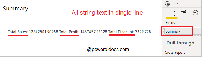 Card Visual String Text
