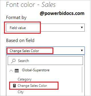 Change font color based on value