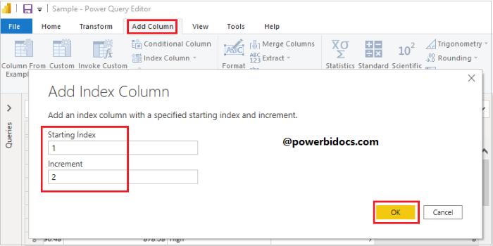 Custom Index Column in Power BI