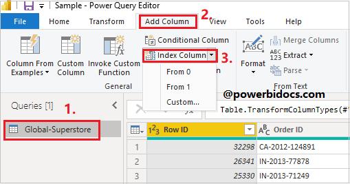 Index Column in Power BI