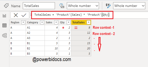 Row context in Power BI