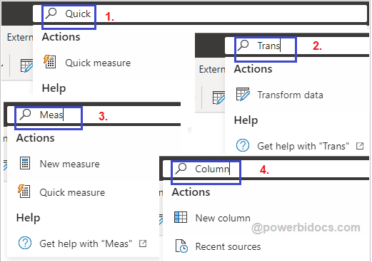 Search bar Power BI