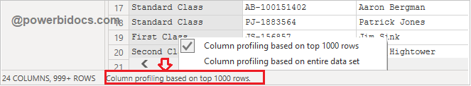 Data profiling with 1000 rows