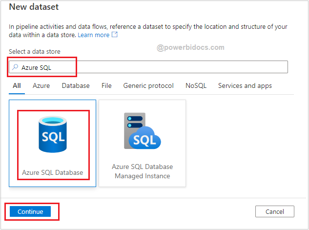 Add dataset for Azure SQL DB