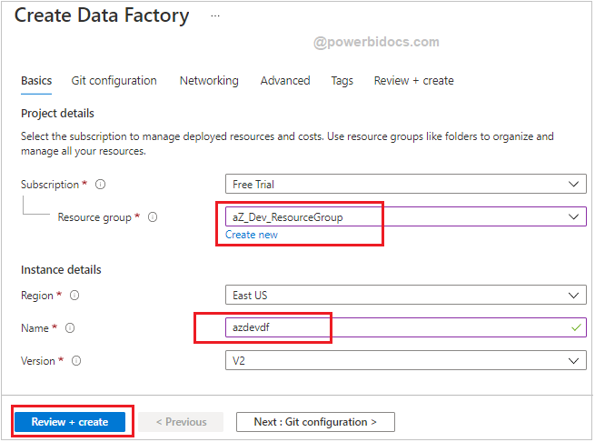 Create Azure Data Factory