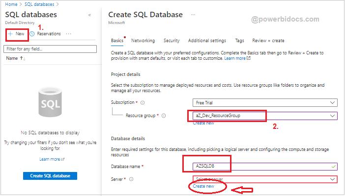 Create SQL database in Azure