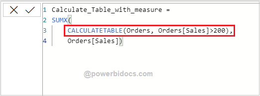 Calculate table with measure