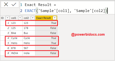 Exact dax function result